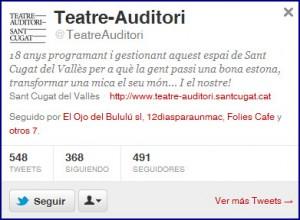 Twitter del Teate-Auditori de Sant Cugat